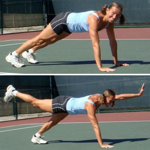 Best core exercise to improve your tennis fitness, plank with the leg and arm lifts
