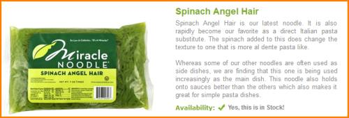 Spinach Angel Hair Miracle Noodles