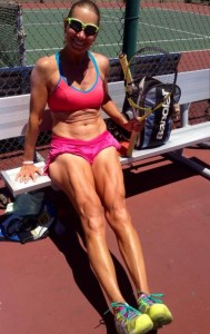 Plant-based athlete on the tennis court, strong and lean