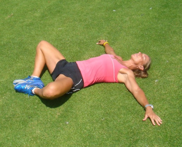 Simple and passive stretch to relieve a tight groin. It feels good!!!